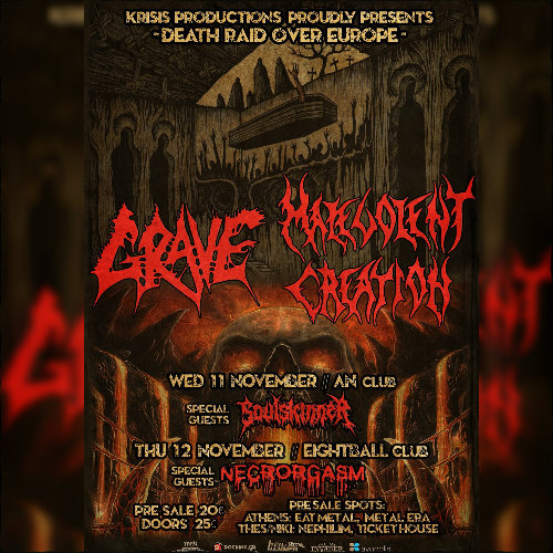 Grave,malevolent Creation,Death Metal,Eightball Live Club,An Club,2015,Live,Soulskinner,Necrorgasm,News,Krisis Productions