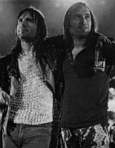 Bruce and Blaze on stage in 1990 when Wolfsbane warmed up for Iron Maiden.